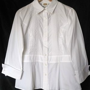 Talbots Women's White Pleated Blouse Size 8